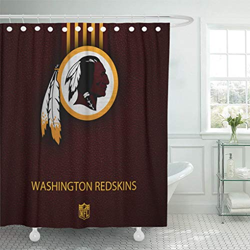 Ladble Decor Shower Curtain Set with Hooks Washington City Redskins Football Texture Emblem Eastern Division 72 X 72 Inches Polyester Waterproof -