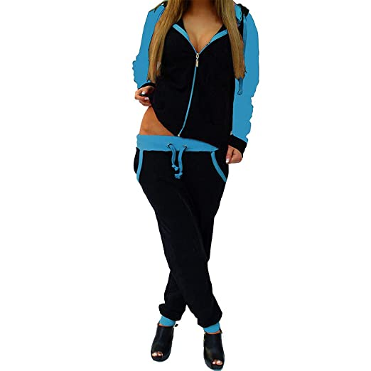 STORTO Women Casual Sweatshirt Hoodie + Sweatpants Two-Pieces Outfit  Tracksuit Blue e5b5960a9c