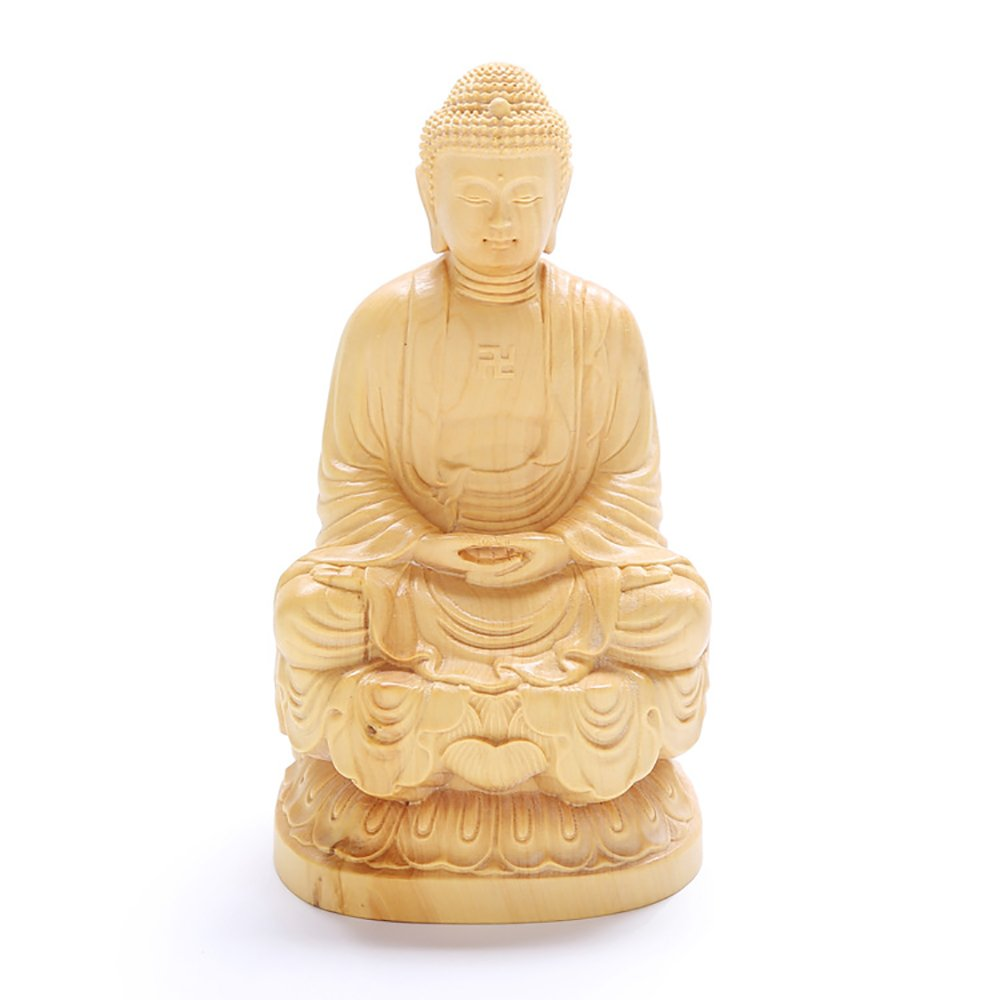 ミニ型 ツゲの木彫り 如来 仏像 置物 木彫仏像 高品質 縁起物 手作り 祈る 開運 B07D9NH2QZ19cm