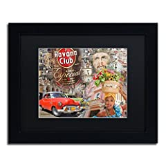 This ready to hang, matted framed art piece features a collage of images from Cuba, including Che, a woman with a cigar, a bottle of Havana club rum, and a vintage red car. Masters fine art is a company that travels around the world to bring ...