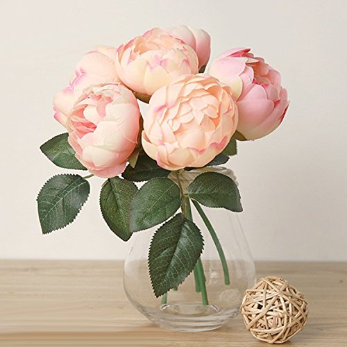Eforstore 1 Bouquet High Quality Artificial Peony Silk Flower for Home Wedding Party Decor (Sunrise Pink)