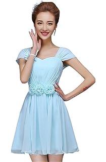 6382218a26c drasawee Damen Chiffon Cap Sleeve Kurz Ball Kleid Junior Heimkehr Kleider