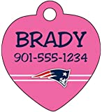 NFL Pink Pet Id Tag for Dogs & Cats Personalized w/ Name & Number (New England Patriots)