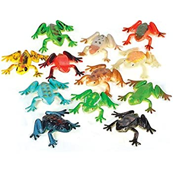 Amazon Com 12 Poison Dart Frogs 2 Inch Plastic Toys Amp Games