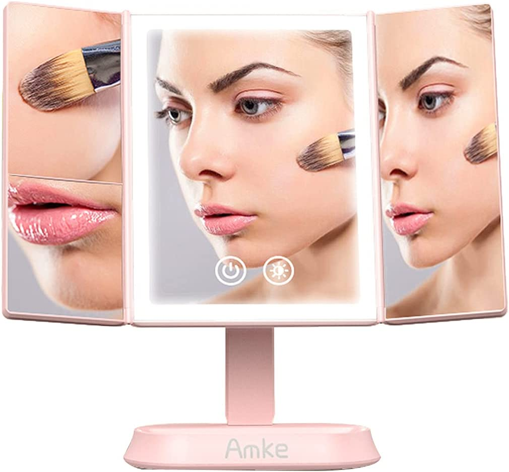Makeup Mirror with Lights, AMKE 80 LED Vanity Mirror Light, Lighted Up Mirror Dimmable, 1X 5X 7X Magnification, 3 Color Lighting Modes, Portable High Definition Beauty Cosmetic Trifold Mirror