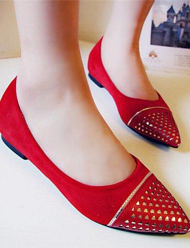 Flats eu36 las azul talón blue mujeres de PDX cn36 señaló Casual plano us6 uk4 rojo Toe zapatos qwB8x6