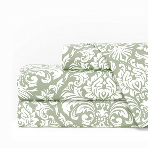 Egyptian Luxury 1600 Series Hotel Collection Damask Pattern Bed Sheet Set - Deep Pockets, Wrinkle and Fade Resistant, Hypoallergenic Sheet and Pillowcase Set - King - Sage/White (Bed Italian)