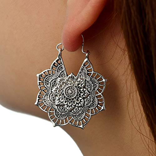 14k Gold Gypsy Hoop Earrings - Boho Mandala Earrings,Antique Silver Gypsy Indian Tribal Ethnic Hoop Dangle Earrings Crystal Simple Chic Stud Earrings Set (Silver)