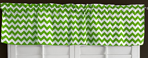 lovemyfabric Cotton Blend Crazy About Chevron Kitchen Curtain Valance Window Treatment (Lime Green)