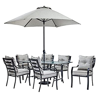 Hanover Lavallette Steel 7 Piece Rectangular Patio Dining Set with Umbrella - Additional limited-time savings reflected in current price Set with 6 cushioned chairs, table, umbrella, stand Rust-proof aluminum frames in bronze finish - patio-furniture, dining-sets-patio-funiture, patio - 51MA6c%2Bf3eL. SS400  -