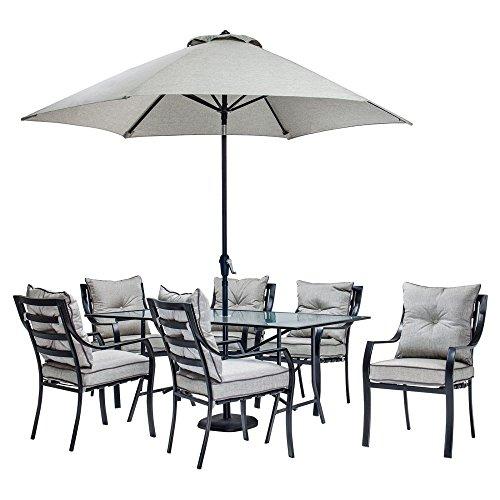 51MA6c%2Bf3eL - Hanover Lavallette Steel 7 Piece Rectangular Patio Dining Set with Umbrella