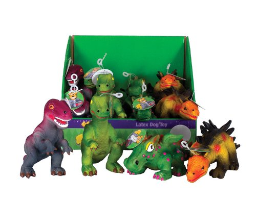 Knight Pet 12-Piece Realistic Latex Dinosaur Toy for Dogs...