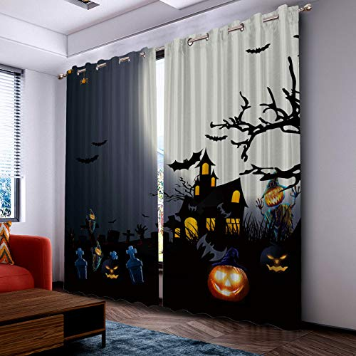 Prime Leader Curtains for Living Room- Darkening Thermal Insulated Window Treatment Curtains, with Grommet Home Decor Halloween Tomb Castle and Bats (2 Panels, 52 x 72 Inch Each Panel) ()