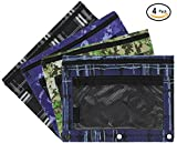 Emraw Legacy Style Double Pocket Zippered Pencil Pouches with 3-Ring Grommet Holes & Quick View Mesh Pocket – Set Include 4 Different Legacy Styles (4 Pack)