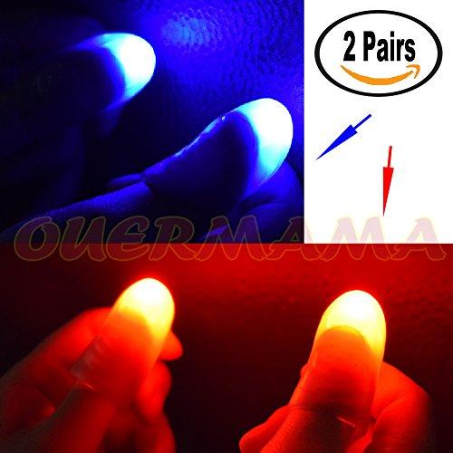 OUERMAMA 2 Pairs Magic Finger Light Up Thumb Tips Party Magic Tricks Magic Trick Thumb
