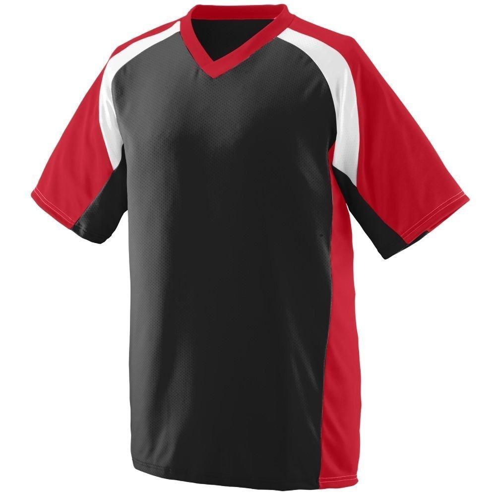 Augusta Youth WickingポリエステルVネック半袖( 1536 ) B00HJTNZSY Medium|Black/Red/White Black/Red/White Medium