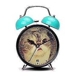 Blue Alarm Clock, Retro Portable Twin Bell Beside Alarm Clocks with Nightlight-002. cat cats TagsForLikes catsagram catstagram instagood pussy pussycat