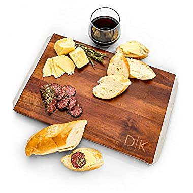 GiftTree Engraved Serving Board | Ideal for Cutting Cheese and Charcuterie | 100% Acacia Wood with Stainless Steel Handles | Perfect Gift for Housewarming, Wedding or 5th Anniversary