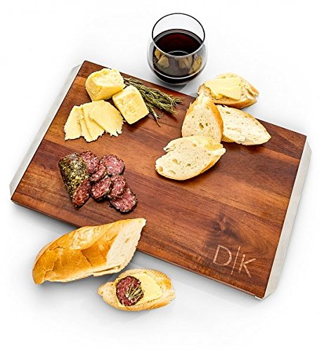 GiftTree Engraved Serving Board | Ideal for Cutting Cheese and Charcuterie | 100% Acacia Wood with Stainless Steel Handles | Perfect Gift for Housewarming, Wedding or 5th Anniversary ()
