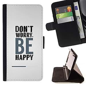 For Samsung Galaxy S3 III i9300 i747 Case , ¿Don? Se preocupe sea feliz- la tarjeta de Crédito Slots PU Funda de cuero Monedero caso cubierta de piel