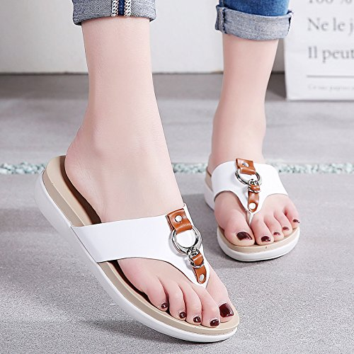 Women Cloud Toe Comfort White 1526 Open Vamp Shoes Platform Gold Leather Sandals H7q6wwg