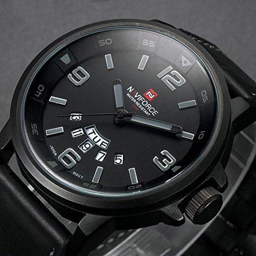 Naviforce 9028 Lujo Relojes de cuarzo correa de piel de hombre Fecha Reloj Masculino Fashion Casual