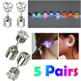 AYAMAYA 5 Pairs Changing Color Christmas Light Up LED Earrings Studs Flashing Blinking Earrings Dance Party Accessories unisex for Men Women