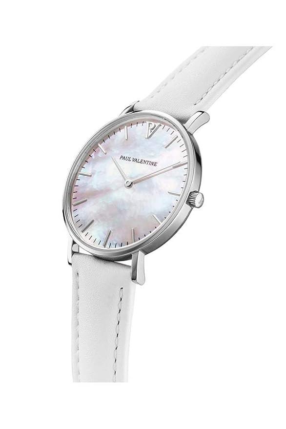 Paul Valentine Silver Seashell - Reloj de Pulsera para Mujer (36 mm), Color Blanco: Amazon.es: Relojes