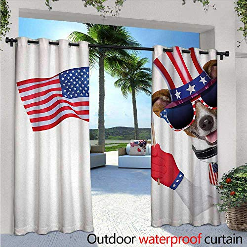 4th of July Exterior/Outside Curtains Patriotic American Breed Dog Celebrating with Flag Hat and Old Glory Dog Tag for Patio Light Block Heat Out Water Proof Drape W108 x L96 Multicolor