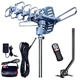 2019UPDATED-150 Miles-Amplified Outdoor TV Antenna+Mount Pole-4K/1080p High Reception+40FT RG6 Cable-360°Strong Motor Rotation Wireless Remote- Snap On Installation+2TV Function