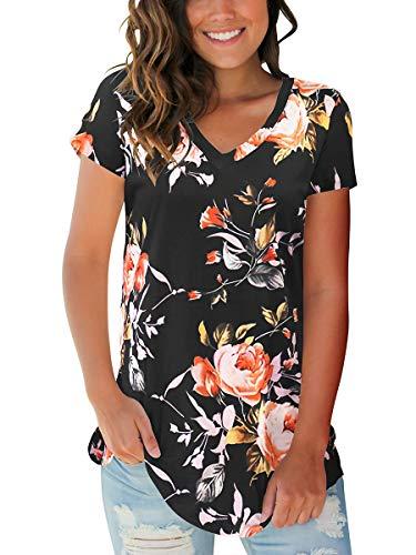 Womens Vintage Tops Short Sleeve V Neck T Shirt Floral Blouse Rose Black XL ()