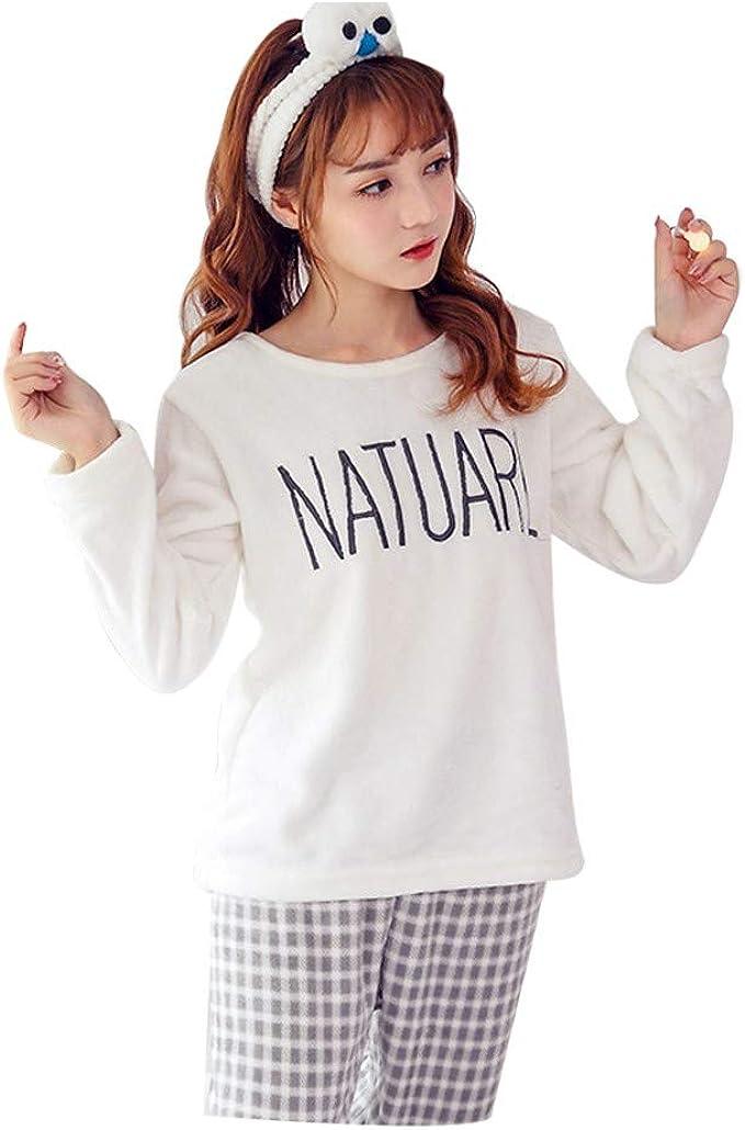 beautyjourney Conjuntos de Pijama para Mujer Camisa de Franela Manga Larga Pantalones Blusa Pijama Largo Ropa de Dormir de Dos Piezas Traje de Casa Loungewear: Amazon.es: Ropa y accesorios