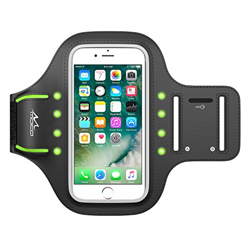 MoKo Armband for iPhone 8 / iPhone 7 / 6s / 6, Sweatproof Luminous LED Sports Armband Adjustable Arm Belt with Key Holder for Safe Night Running, Cycling, Walking (Fits Cellphones up to 4.7 Inch)