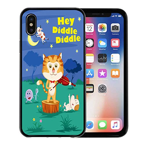 - Semtomn Phone Case for Apple iPhone Xs case,Cat Hey Diddle Kids English Nursery Rhymes Book in Fiddle Story Poem for iPhone X Case,Rubber Border Protective Case,Black