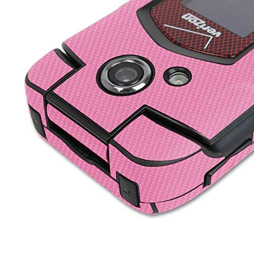 Skinomi® TechSkin - Kyocera DuraXV DuraXA Screen Protector + Pink Carbon Fiber Full Body Skin w/ Lifetime Replacement / Front & Back Wrap / Premium HD Clear Film / Invisible & Anti Bubble Shield