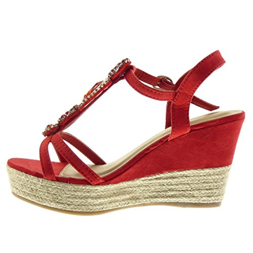 Sandalias de Angkorly 9 Moda correa Zapatillas tanga CM 5 Plataforma cuerda Talón Rojo joyas zapatillas mujer alpargatas de plataforma qtwrwpx