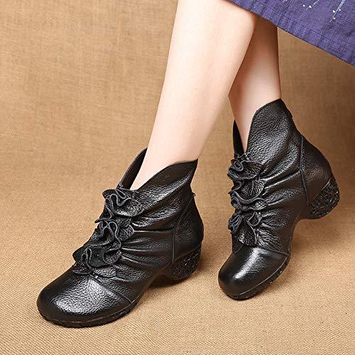 Dcontractes Bottes Chaudes Cuir Talons Chaussures En Cuir Bottines Pour Bottines Noir Femmes gABgHrZ