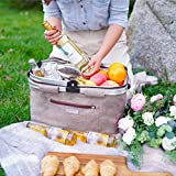 HulaFish Foldable Insulated Picnic Basket with lid