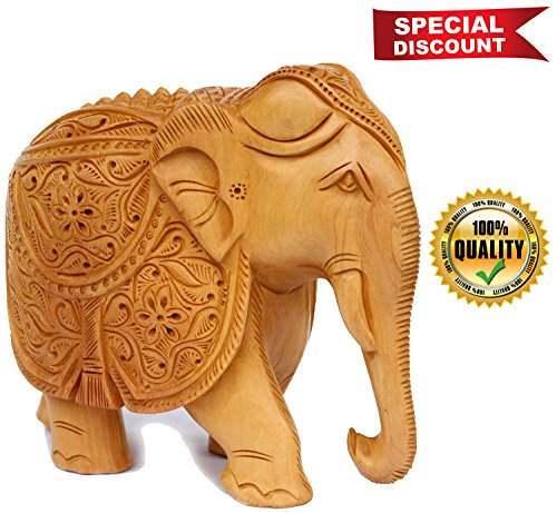 HEAVY DISCOUNT - Elephant Decor- Hand Carved Statue Wooden Collectible Figurine Sculpture Figure - Table Centrepieces and Home Decoration for Living Room Office Decor - Carved Wooden Elephant