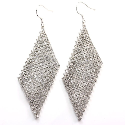 FC JORY White Gold Plated CZ Crystal Mesh Fit Pierced Bridal Wedding Hook Drop Earrings by FC JORY