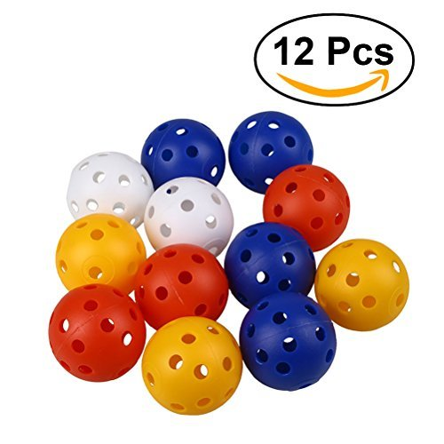 (TOYMYTOY 12pcs Perforated Plastic Play Balls Hollow Golf Practice Training Sports Balls (Mixed Colors))
