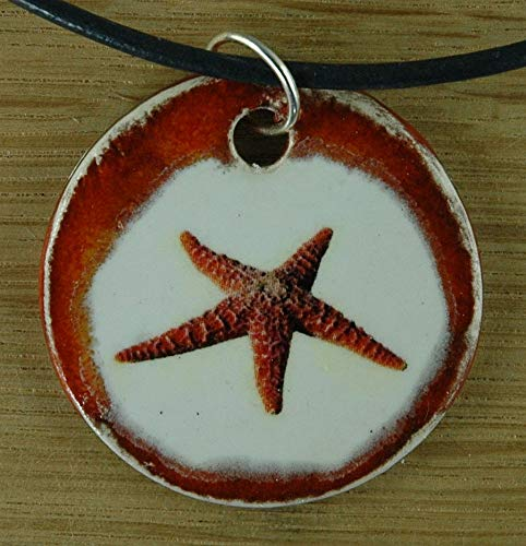Orginal handicraft: seastar; fish, vacation, sea, biology, nature, jewellery, jewelry, handcrafted necklace, best gift, art, ceramic