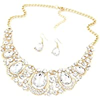Voberry Women Fashion Crystal Necklace Jewelry Statement Bib Pendant Charm Chain Choker Necklace Earrings Set (Silver)
