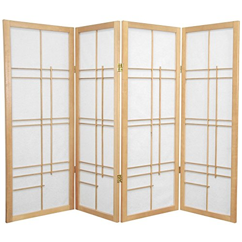 ORIENTAL FURNITURE 4 ft. Tall Eudes Shoji Screen - Natural - 4 Panels from ORIENTAL FURNITURE