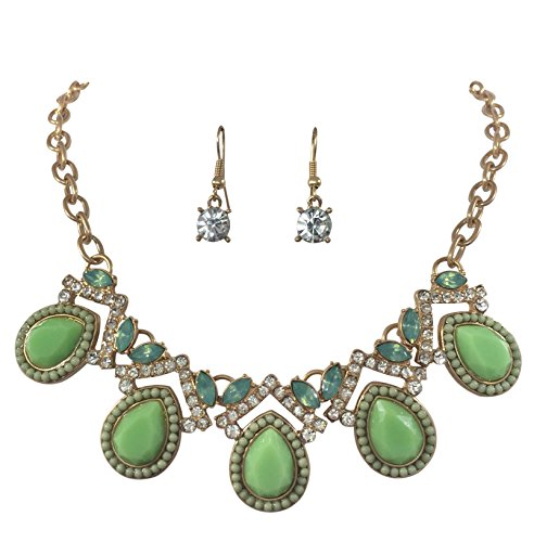 Teardrop Flair Dot Rhinestone Bubble Gold Tone Boutique Statement Necklace Earrings Set (Mint Green)
