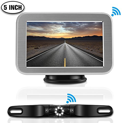 """Wireless Backup Camera Kit Only for Cars, LED Super Night Vision IP68 Waterproof License Plate Reverse Back Up Car Camera with 5""""TFT LCD Rearview Monitor for Cars, SUV, Pickups Review"""