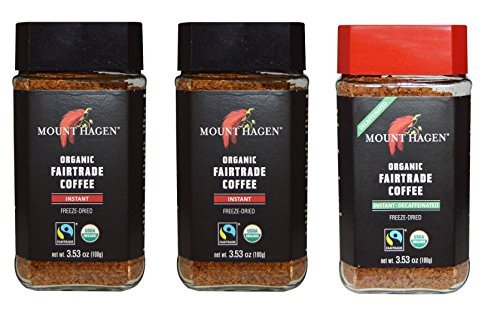 Mount Hagen Organic Freeze Dried Instant Coffee- 3.53 Oz Each ,Variety Pack ,2 Jar Regular + 1 Jar Decaff, (Pack of 3) Review
