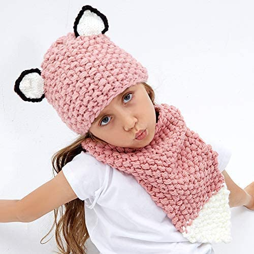 /'Hat-imals/' Hand-Knit 100/% Wool Animal Winter Hats for Kids and Teens Set 2