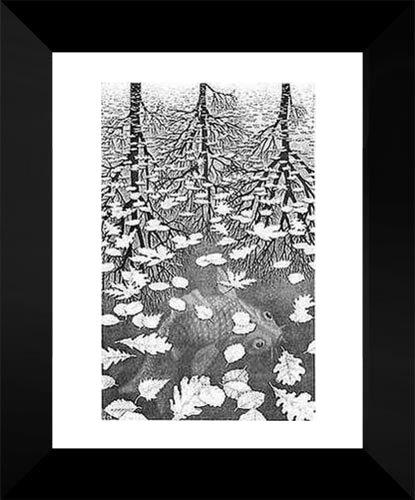Three Worlds 15x18 Framed Art Print by M.C. Escher