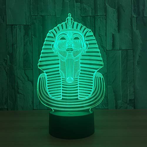 DDYDXL 3D LED Nachtlicht Nachtlicht Pharao führte Tischlampe Stereo Nachttischlampe Acryl Schlafzimmer Nachtlicht 631